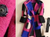 2014冬季新款高端品牌女装 欧洲站彩格拼色羊毛呢长款加厚大衣Z