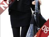 【伙拼】韩版秋冬黑色修身包臀短裙韩版半身裙子秋冬 毛线半身裙