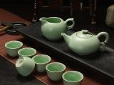 陶瓷茶具套装特价 正品仿古汝窑色釉茶具套装 创意实木整块茶盆