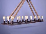 个性麻绳吊灯loft仿古铁锈美式乡村工业酒吧餐厅灯具酒店吧台灯饰