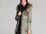 2014冬季女装新款韩版时尚貉子毛领连帽棉袄防寒保暖女式绣章棉衣