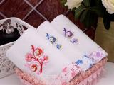 高阳童巾厂家直销 纯棉割绒 可爱卡通兔刺绣儿童方巾 加厚定做