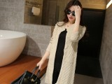 2015春装新款韩版中长款宽松大码麻花钉珠针织开衫女外套
