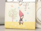 批发2014韩版新款可爱立体小红帽卡通印花短款女士铁夹钱包皮夹