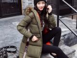 冬季新品羽绒棉服女士超长款加厚过膝外套加肥加大修身大码棉衣潮