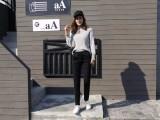 22元新款时尚女韩版个性运动裤女装大码弹力修身长裤