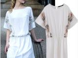 2014春夏装新款蝙蝠中袖复古刺绣印花宽松高腰雪纺连衣裙女