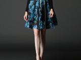 欧美大牌精品女装2015春夏新款修身显瘦雪纺半身裙印花百褶裙短裙