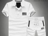 2014新款高档珠地棉男士休闲潮流时尚翻领套装白色黑色