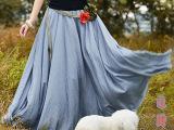 2015夏新款棉麻雪纺半身裙 花朵腰带波西米亚长裙女装沙滩大摆裙