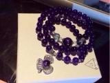 925银手链 巴西天然紫水晶时尚锁骨链 绕手三圈手串