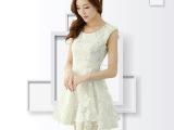 2014女装新款 夏季白色蕾丝连衣裙 欧根纱蓬蓬无袖打底连衣裙