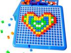 潜力 美术拼盘490粒插珠拼图 幼儿智力拼装积木 儿童益智拼装玩具
