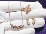 18k金星星套装耳环项链戒指全套