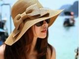 新款夏季帽子 可折叠双层蝴蝶结单色草帽 遮阳帽子批发