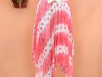 2014春夏韩版新款女装红爱心沙滩裙不规则百褶半身裙中长裙子夏女