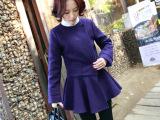 2014秋冬女装欧美新款呢子大衣时尚潮款洋气裙摆修身毛呢外套