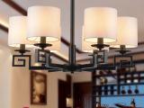 新中式吊灯铁艺布罩现代中式餐厅酒店工程创意仿古灯饰茶楼灯具