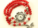 天然玛瑙水晶碧玺石榴石时尚韩版多层手链手表 女士复古手表