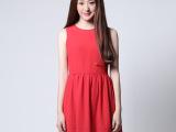 夏装新品雪纺连衣裙女中长款修身显瘦夏裙无袖裙子一件代发JZ006