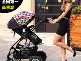 厂家直销婴儿推车高景观婴儿车避震双向可坐躺轻便折叠童车手推车