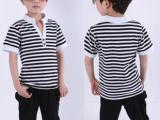 2014夏款韩版儿童黑白条纹套装 童装套装短袖+哈伦裤男童套装