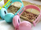 005圆面清新糖果色手机耳机头戴式耳机带麦克风话筒耳机 潮人时尚