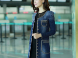 2014春装新款韩版修身显瘦长袖单排扣牛仔风衣 女 外套