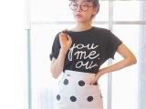 韩国代购宽松短袖上衣+修身包臀圆点半身裙 套装