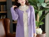 2014春装新款韩版中长款针织衫毛衣开衫女装批发