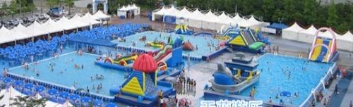 水上乐园项目热销中移动水上乐园水上滑梯水上漂浮蹦床陀螺水鸟