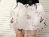 夏韩版欧根纱半身裙网纱印花三层半身裙 裤裙高腰短裙女