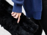 韩版2014秋冬季新款真兔毛毛单肩斜挎手拿手抓包晚宴包女包包特价
