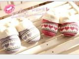 针织爱心棉拖鞋秋冬季家居家女士情侣拖鞋包跟可爱棉拖鞋