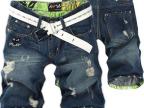 夏季款破洞个性 牛仔短裤男士韩版 直筒五分裤中裤 爆款一件代发