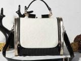2014新款韩版潮黑白撞色女士包包欧美单肩斜挎包复古时尚女版手提