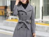 女装毛呢外套秋冬新款   韩版修身长款带腰带双排扣羊绒毛呢大衣