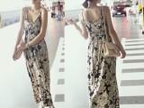 14春夏新款韩版时尚淑女风长款女吊带连衣裙 碎花长裙潮 广州批发
