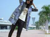 2014新款牛仔外套女韩版宽松破洞中长款牛仔衣漏洞牛仔裙女外套