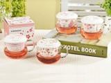 利源陶瓷 浪漫樱花玻璃杯 创意花茶杯 带盖陶瓷过滤办公杯泡茶杯