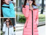 厂家直销2014新款韩版时尚羽绒棉衣加大码中长款棉服批发