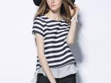 欧洲站2015夏装时尚气质套装女潮短裤小香风黑白条纹休闲两件套装