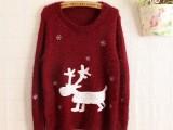 圣诞款雪花小鹿马海毛套头打底小鹿毛衣批发