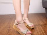 2015夏季新款中跟搭扣真皮女式凉鞋厚底松糕圆头坡跟女鞋批发