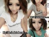 2014新款韩版女装V领字母短袖T恤女t恤夏季女装女装衣服服装