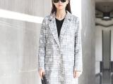 原创设计小西装外套女2014新款秋装女装长袖大码韩国长款印花西装