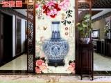 陶瓷背景墻 新中式青花瓷玄關背景墻 深圳廠家
