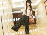 2015新款韩版女裤竖条纹阔腿裤高腰百搭显瘦七分裤女