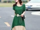 2015夏季新款女装韩版修身假两件棉麻连衣裙文艺