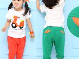 韩版童装 2015最新夏款男/女童机车套装 短袖 哈伦裤 厂家直